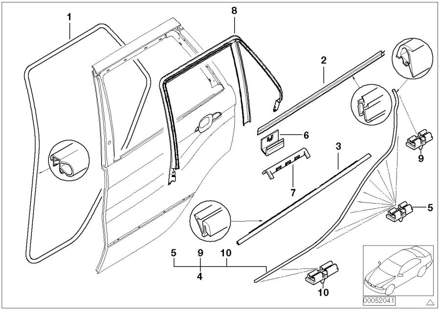 2006 Bmw X5 Clamp  Door  Trim  Body