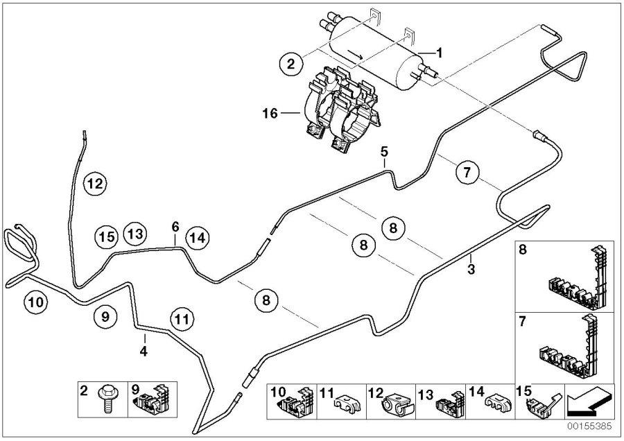 Bmw X5 Pressure Pipe  Rear  Fuel - 16127175086