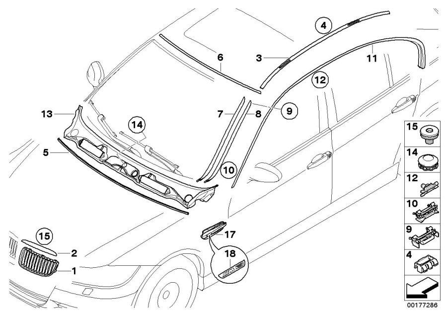2006 bmw 335i primed drip moulding  right  trim  exterior  body - 51137184002