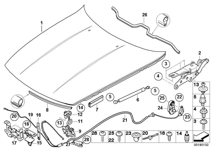 41617180228 - Aluminium Engine Hood  Body  Outer  Trim