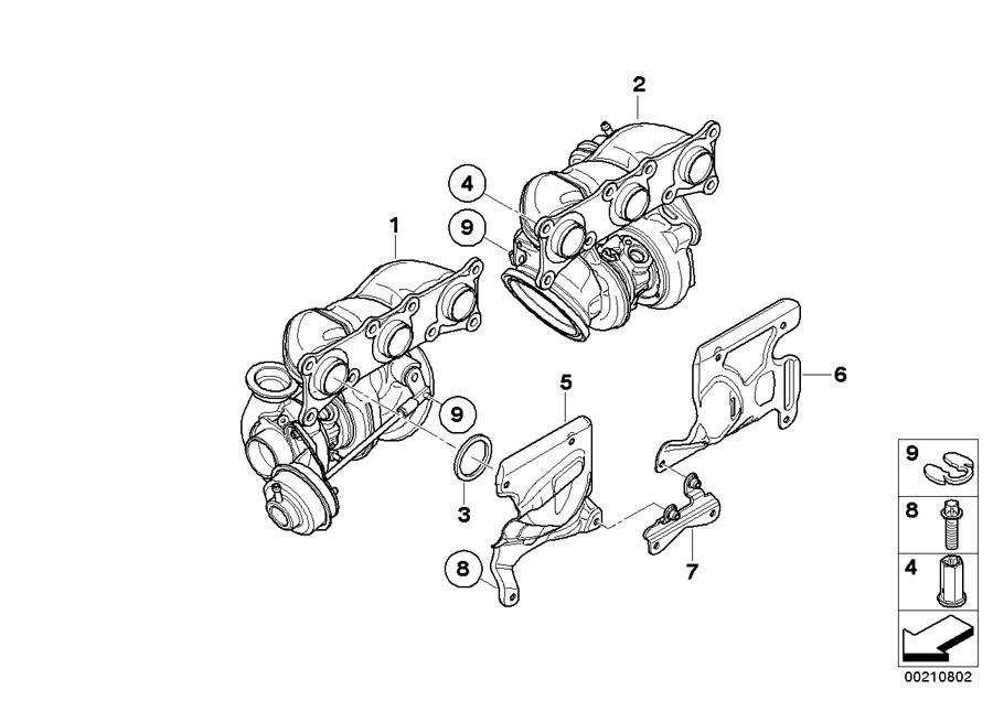 BMW    535xi Exchturbocharger wexhaust manifold    Engine