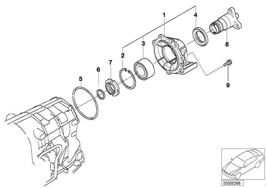2005 bmw 325ci o-ring  128x3  awd - 24201217321