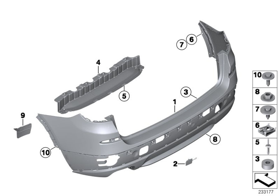 51127272415 - Set  Trim  Towing Lug  Rear