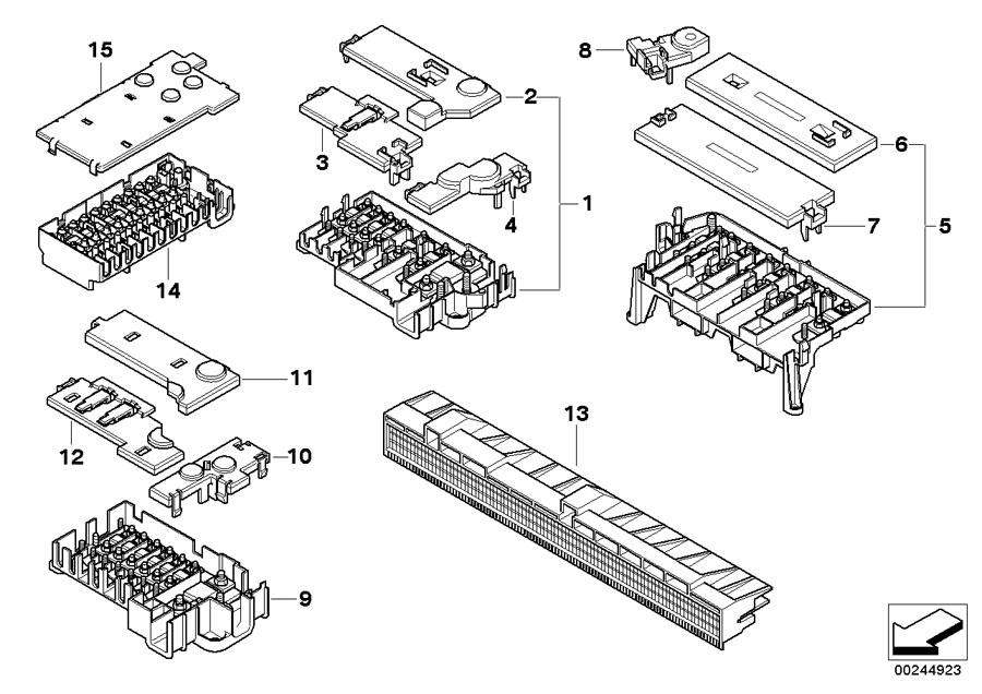 61108365530 - Fuse housing 8-fold. Components, Single ...