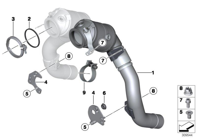 Bmw 750lix Holder Catalytic Converter Near Engine  Zyl  5-8  Alpina  Exhaust