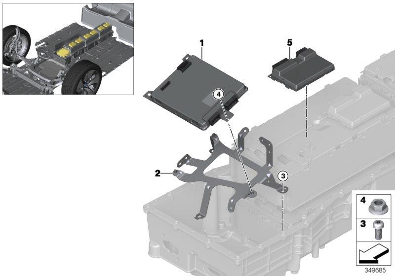 bmw i8 bracket for sme battery management 61277647059 genuine bmw part