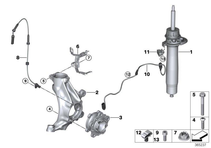 bmw m3 spring strut edc  front right  suspension  struts  shocks - 31318008628