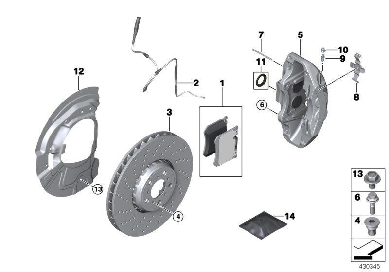 Bmw X5 Repair Kit  Brake Pads Asbestos-free  Brakes  Service  Sensor - 34117852969
