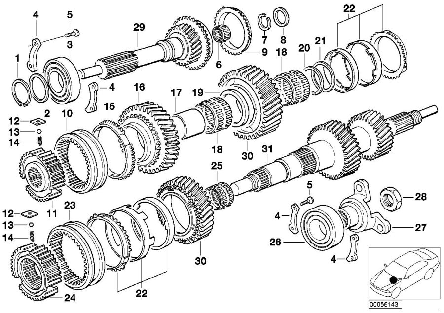 BMW 525i Collar nut. Transmission, Shaft - 23217543319 ...