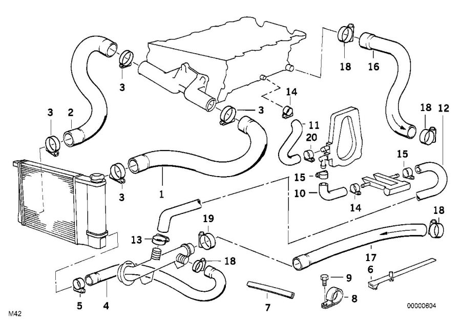 Bmw 318is Hose F Engine Inlet And Water Valve  Cooling  Hoses - 64218391252