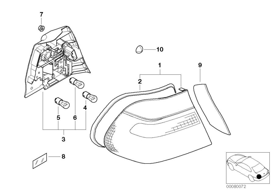 63216920699 - Tail Light Led Left Side Panel  White  Rear  System  Electrical