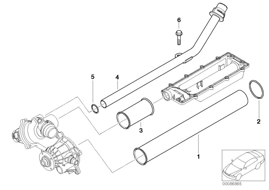 Bmw X5 Return Pipe  Heater  Engine  Cooling  System