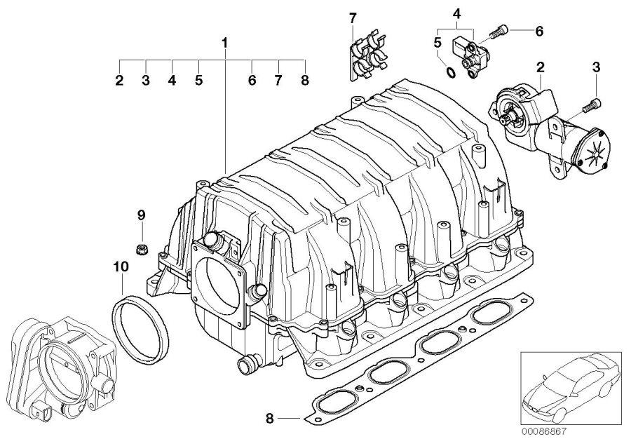 Bmw 645ci Differential Pressure Sensor  Engine  Manifold  Intake - 13628617097