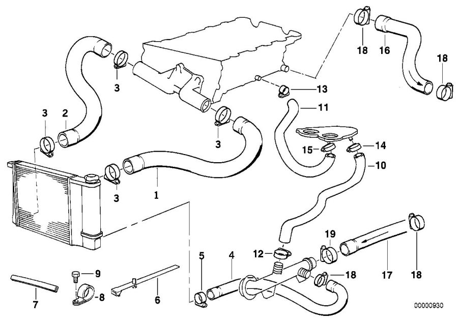 Bmw 318is Hose F Engine Inlet And Water Valve  Cooling